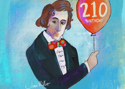 Chopin with red balloon to celebrate his 210th birthday