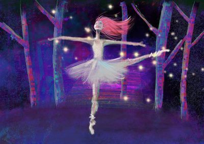 illustration of dancer with fireflies