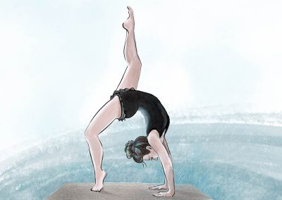 illustration of dancer doing back bend