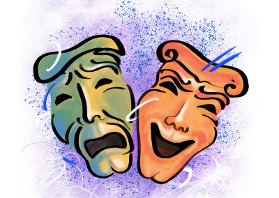 theatre masks illustration | JoniMillar/Tilt Creative