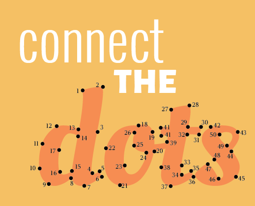 Connect the Dots graphic represents brochure, poster, display, social media and other marketing material design in Calgary