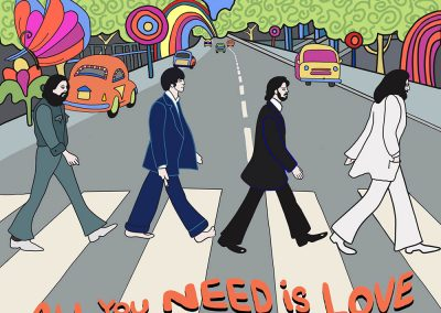 Beatles abbey road illustration in yellow sub style
