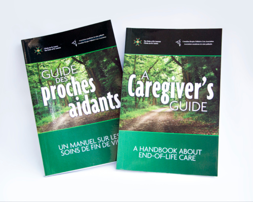Book design for French and English versions of a Caregiver's Guide by Tilt & Tweak in Calgary, Alberta.