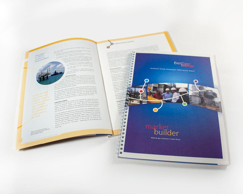 Full colour design for East Coast Energy financial report