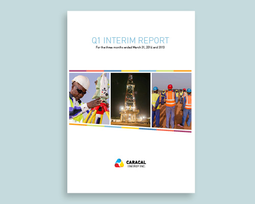 Cover of Caracal Energy interim financial design by Tilt & Tweak in Calgary