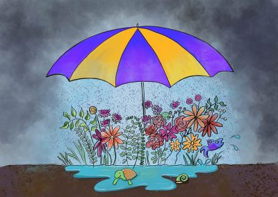 illustration of umbrella with garden and rain underneath